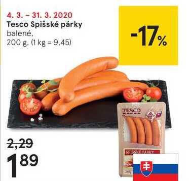 Tesco Spišské párky, 200 g