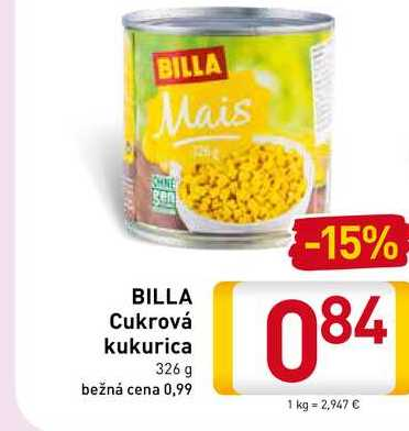 Billa Cukrová kukurica 326 g