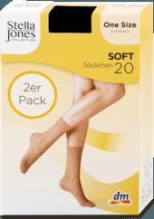 Pančuchové ponožky Soft 20, one size čierne, 2 ks