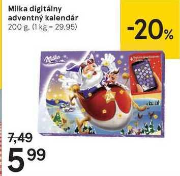 Milka digitálny adventný kalendár, 200 g