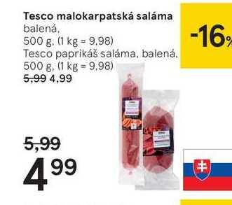 Tesco malokarpatská saláma, 500 g