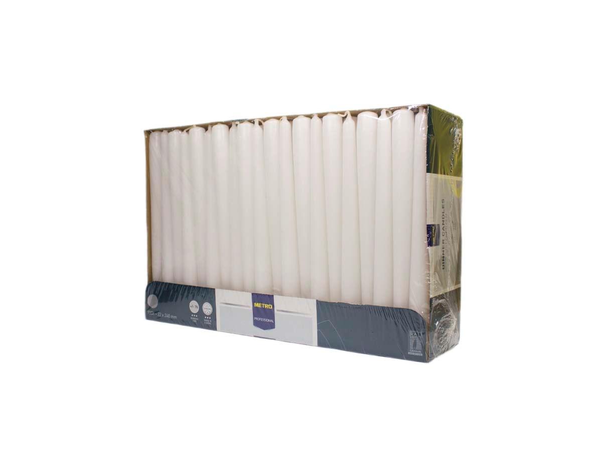 Sviečka biela 2x24cm Metro Professional 100ks