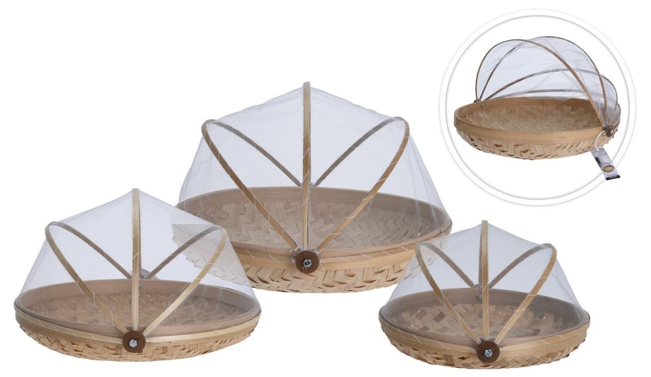Set bambusových košíkov s poklopom 3 ks