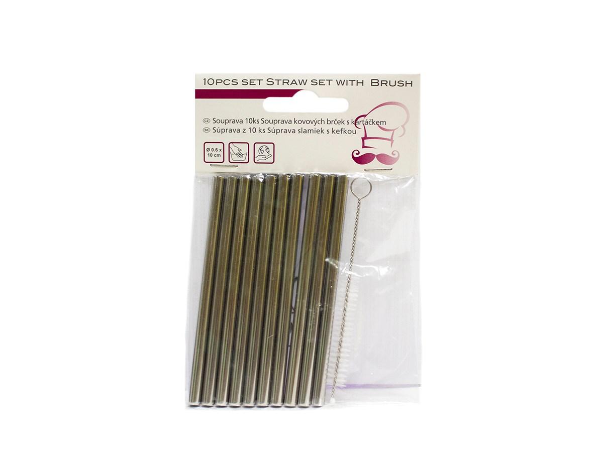 Slamky nerezové rovné 10 cm 10 ks