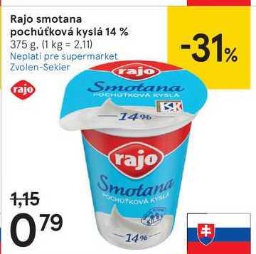 Rajo smotana pochuťková kyslá 14 %, 375 g