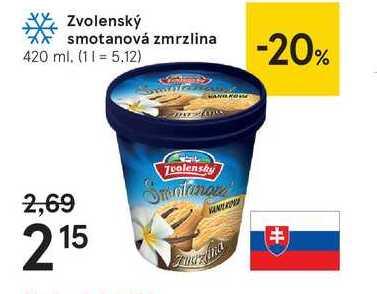 Zvolenský smotanová zmrzlina, 420 ml
