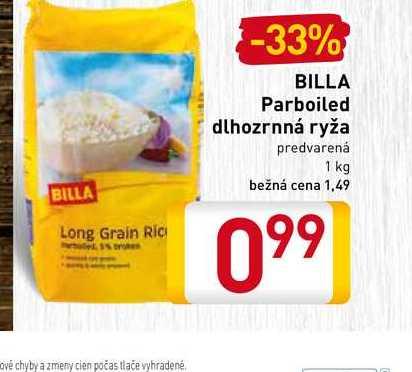 Billa parboiled dlhozrnná ryža 1 kg