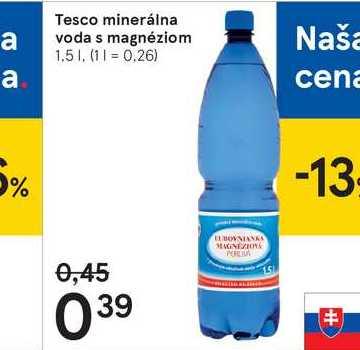 Tesco minerálna voda s magnéziom, 1,5 l