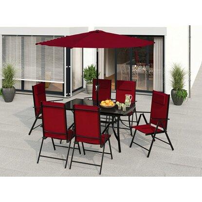 Súprava záhradného nábytku Travessa 8-dielna z hliníka červená