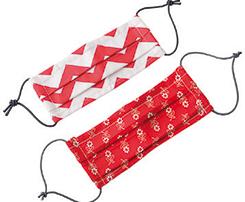 Rúško textilné 2-vrstvové viacfarebné s gumičkami