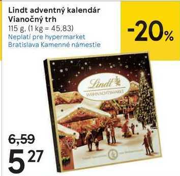 Lindt adventný kalendár Vianočný trh, 115 g