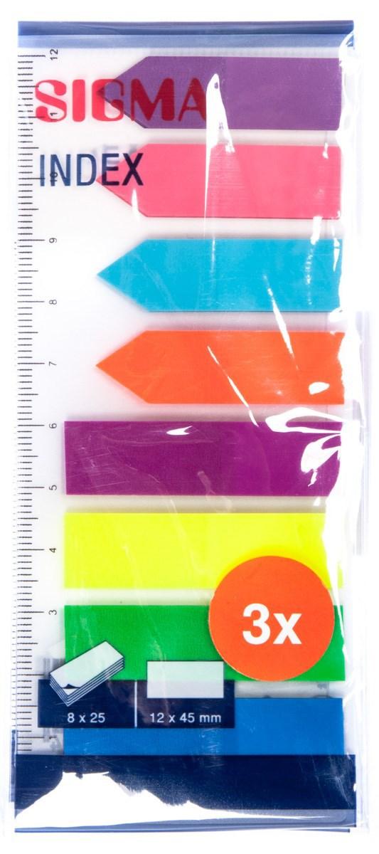 Index samolepiaci 12x45mm neón SIGMA 3ks