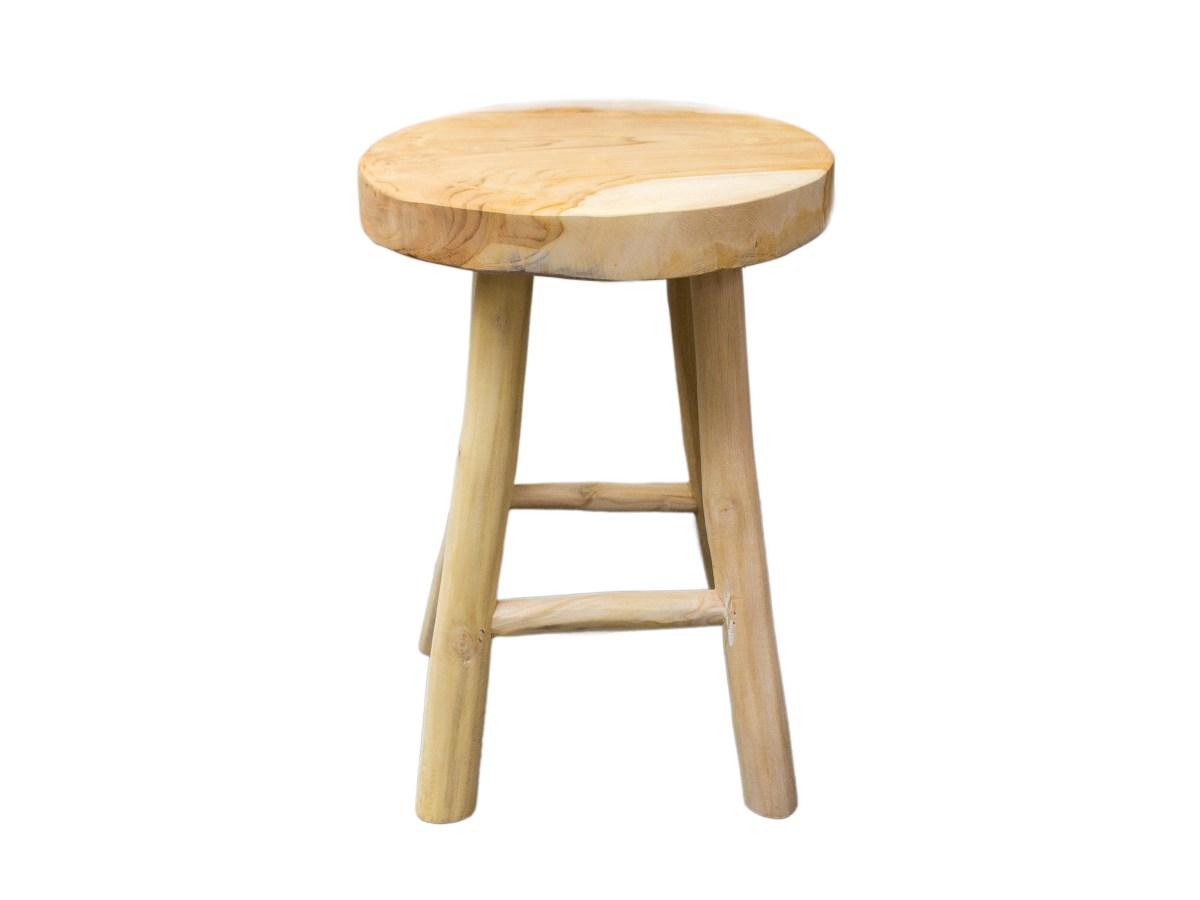 Stolička okrúhla masív z teakového dreva 1 ks