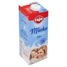 Mlieko polotučné trvanlivé 1,5% Rajo 1l