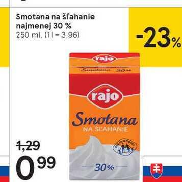 Smotana na šľahanie najmenej 30 %, 250 ml
