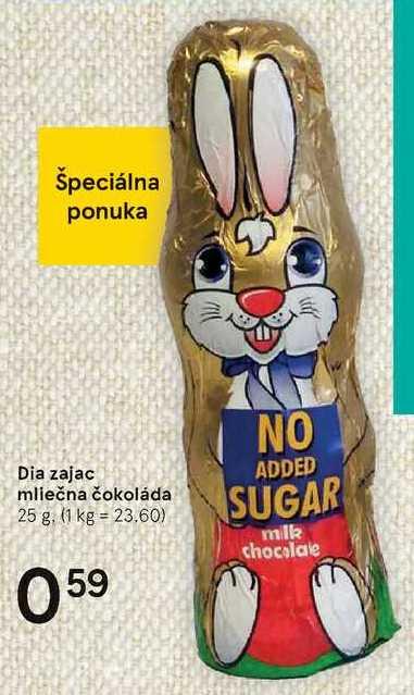 Dia zajac mliečná čokoláda, 25 g