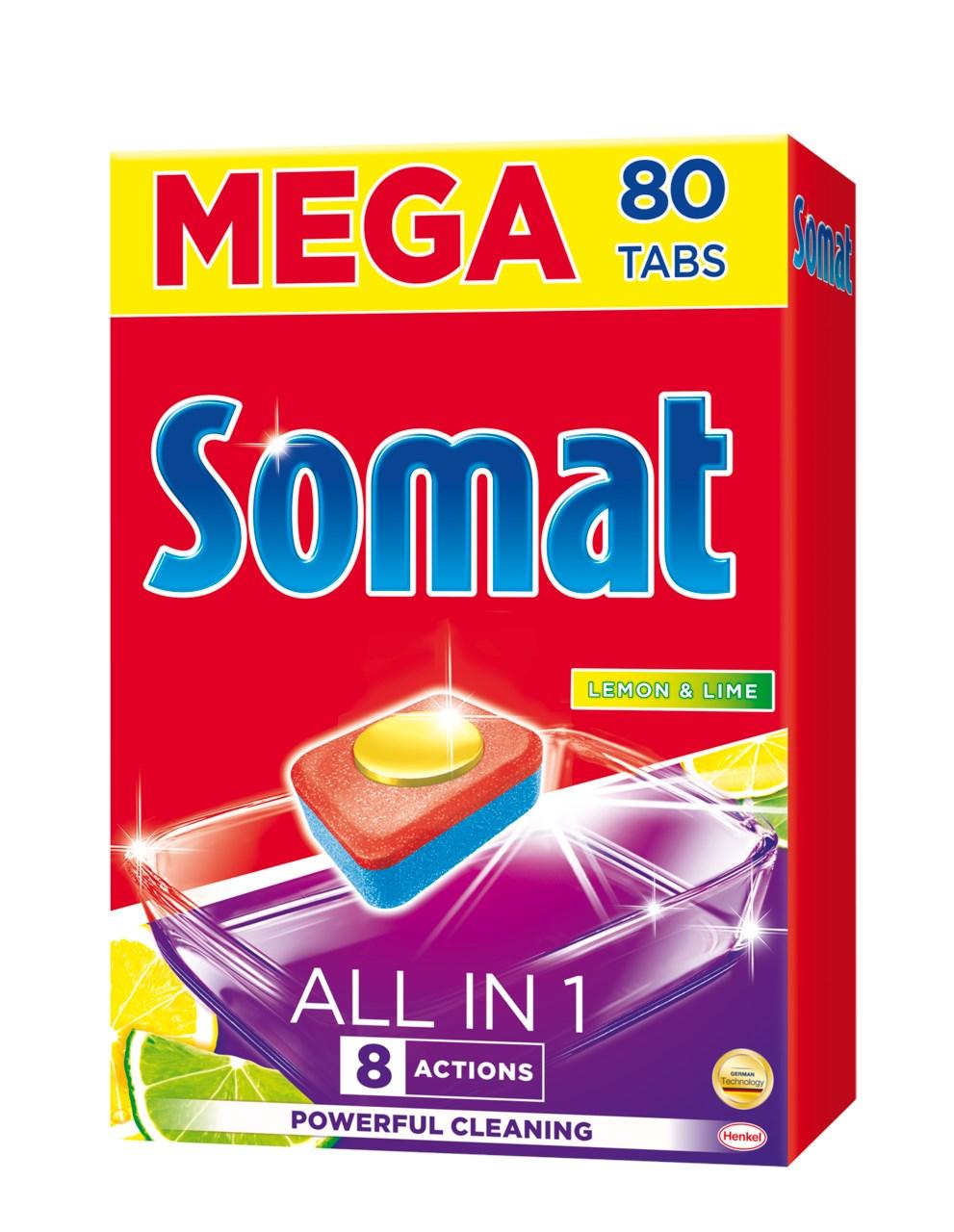 Somat All in 1 lemon&lime tablety do umývačky riadu 1x80 ks