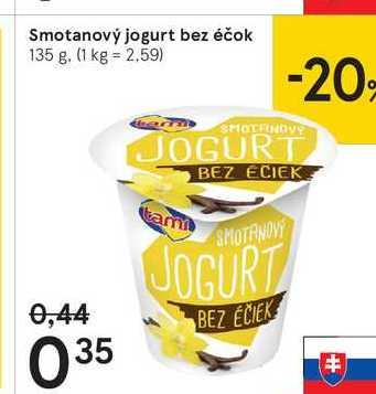 Smotanový jogurt bez éčok, 135 g