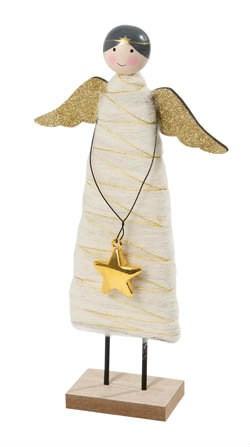 Anjel s vlnou drevený 29 cm 1ks
