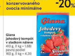 Giana jahodový kompót v sladkom náleve, 410 g