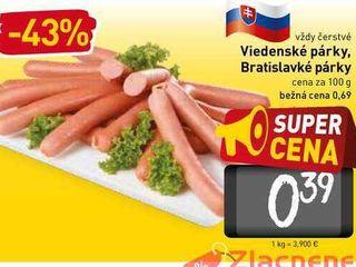 Viedenské párky, Bratislavké párky  100 g
