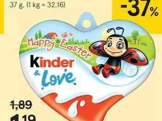 Kinder čokoláda srdce, 37 g