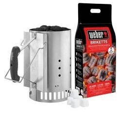 Zapaľovací komín Rapidfire™ 2k brikiet a 6ks podpaľovacích kociek Weber 1ks
