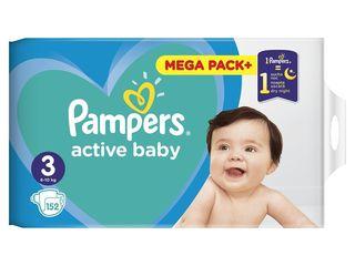 Pampers active baby S3 mega pack+ detské plienky 1x152 ks
