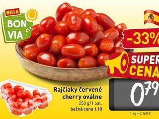 Rajčiaky červené cherry oválne 250 g
